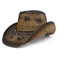 Retro Donne Paglia Hollow Hollow Western Cowboy Hat Lady Roll Up Brim Bohemia Tassel Sombrero Hombre Beach Cowgirl Jazz Sun Hat