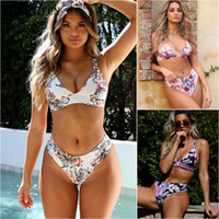 2020 New Sexy Floral Print Swimsuit Women Triangle Bralette ...