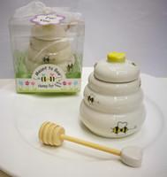 """100 قطع """"من المفترض أن النحل"""" السيراميك وعاء العسل هدية الزفاف الخزف عسل جرة هدايا الزفاف و تفضل اللوازم lin4496"""