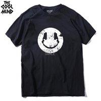 COOLMIND MU0211A manga curta casuais 100% algodão engraçado punk rock camisa Homens T o-pescoço sorriso DJ homens impressos T-shirt encabeça camisetas