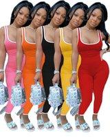 Kadınlar yaz seksi düz pantolon S-2XL tulum düz renk kepçe boyun çizgili kolsuz bodysuit kapriler giyim 3404 DHL tulum tulum