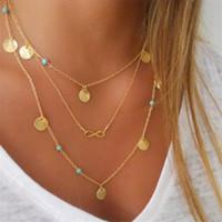 Multi strato di oro Infinity collana di colore della nappa per le donne Catena Gioielli Bohemian Girocollo Colar collier N627