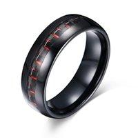 Cluster ringen mannen ring sieraden zwarte wolfraam koolstofvezel inleg voor breed 8 mm fit comfort rood