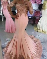 Rosa sirena madre de los vestidos de novia más tamaño mangas largas sheer scoop apliques cristal madre noche formal fiesta de fiesta