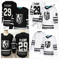 Pas cher 2019 All Star Jersey Hommes 29 Marc-André Fleury Vegas Golden Knights Noir Blanc Blanc Top Qualité Hommes All-Star Patch Hockey Jersey