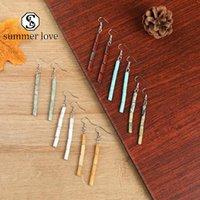 Heißer Verkauf-bunter runder Naturstein baumelt handgemachte Ohrring für Frauen-Mädchen-Silber-Haken-Ohrring einfacher Art und Weise Schmucksache-Geschenk-Y