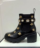 Brand Women Cow leather Crystal Bee Star Short Boots fashion...