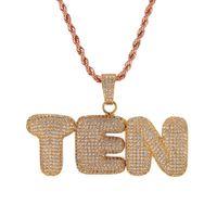 A-Z 0-9 Nome personalizzato Lettere di bolle Collane Pendente Fascino Per Oro Argento Oro Rosa Colore rosa Zircone cubico Corda Catena Hip Hop Regali gioielli