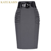 57b52ee783 Kate Kasin Women Office Work Pencil Midi Skirt With Belt Slim Fit Summer Bodycon  Skirts Elegant Ladies High Waist Femme Saias Y19043002