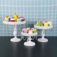 3-Set gâteau de mariage blanc Support plaque de petit gâteau antique ronde Stands pâte fer métal plateau de desserts Affichage pour porte-gâteau de fête