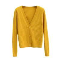 Autumn V- Neck Knitted Sweater Women Single Breasted Cardigan...