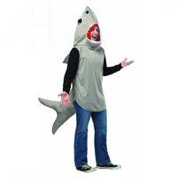 공상 복장 할로윈 상어 남자 마스코트는 유럽 고래 특성 마스코트 옷 크리스마스 파티를 의상을 입힙니다