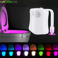 Haoxin luz de fondo impermeable para inodoro inteligente del sensor de movimiento PIR de asiento de inodoro luz de la noche de 8 colores LED Luminaria iluminación de la lámpara WC