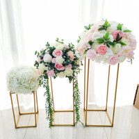 10pcs  Lot Vases Gold  White Flower Stand Metal Road Lead We...