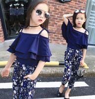 Girl Boutique Clothing Sets Baby Off Shoulder Tops Pant Set шифоновая футболка цветочный принт брюки детская пляжная одежда костюм GGA3508-3