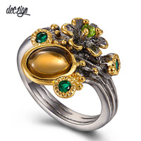 Deczign Hot Pick Vintage Flower Ring for Women Brown Color Z...