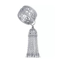 Moda Ünlü Marka Kraliyet Püskül Taç Ayarlanabilir Yüzük Ile Kadınlar Için 925 Ayar Gümüş En Kaliteli Zirkon Yüzük bague femme KO takı