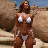 Moda Solid Bikini A spalle Backless Costume da bagno sexy Beach Bikini donne Costumi da bagno Vita freddi di estate di poliestere costume da bagno