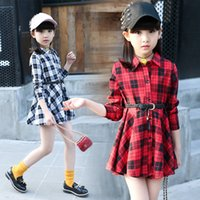 Girls Plaid Shirt Dress 2019 Children' s Clothing Spring...