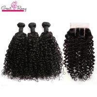 Brezilyalı Derin Kıvırcık Saç Paketler ile Kapatma 4x4 Brezilyalı İnsan Saç Atkı ile Kapatma 3 Bölüm Virgin Saç Uzatma Doğal Renk 4pc / lot