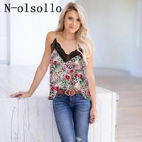 여성 탱크 Camis N-Olsollo 레이스 카미 탑 Womens 민소매 백리스 섹시한 동기창 V 넥 플로랄 3D 인쇄 된 꽃 조끼 티셔츠
