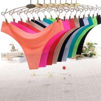 النساء الملابس ثونغ الحرير الجليد الصيف مثير اللباس الداخلي سلس منخفضة الارتفاع g- سلسلة رقيقة جدا سيدة داخلية سراويل داخلية سراويل داخلية