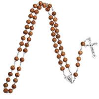 Nuevas cuentas de madera Cadenas largas Collar de rosario católico Para mujeres y hombres Cristiano Jesús Virgen María Cruz crucifijo Colgante Joyería de moda