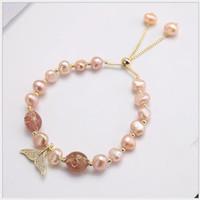 braccialetto perla naturale femminile polvere di cristallo fragola cristallo braccialetto braccialetto sirena jewelry1035