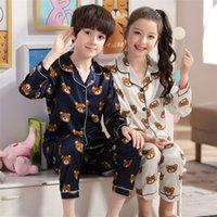 أطفال منامة الفتيان النوم نوم الطفلات الفتيات الرضع الملابس الكرتون الدب بيجامة مجموعات الأطفال pyjamas11 desinger