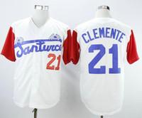 Meilleure qualité Santurce Santurce Crabbers Puerto Rico Roberto Clemente Jersey 21 Blanc Blanc Blanc Blanc Gris Jersets de baseball cousu