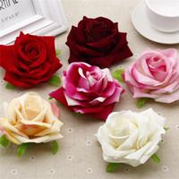 Belle Velvet Artificielle Grand Rose Tete De Fleur Decoratif Partie De Fleur Maison Mariage Mur Deco Décoration Fausses Fleurs 8 ~ 10CM 1pcs / sac