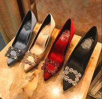 2019 New Strass High Heels Silk Ober 6.5cm oder 8.5cm Stilett-Fersen-Schuh-Frauen Hochzeit Schuhe Größe: EU34-40