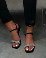 gündelik tek ayakkabı tokası 2020 Yaz düz topuk bayan sandalet açık ayak kristal sandalet kadın ayak bileği
