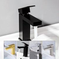 Nero placcato miscelatore caldo e freddo design quadrato rubinetto dell'acqua incasso sottopiano rubinetto del bagno di qualità in ottone cromo spazzolato oro