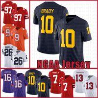 Michigan Wolverines 10 Tom Brady American Football Jersey 10 Tom Brady 97 Nick Bosa 26 Saquone Barkley Jerseys Uomo