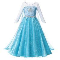 Clearance Princess Beadings Azul Vestido de vestir GIRL WITH LOND CUBIERTE PAGEANT BOLA DE POLAZA DE LA BOLA DELUXE FLUFFY BEAD DE HALLOWEEN PERSURA DE PERSAMIENTO BY1
