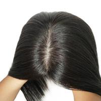 5 * 6Inch Human Hair Topper für Frauen Natürliche BLCs Farbe 100% Remy Slik Base Clip in Toupee Haarteile