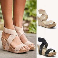 Sexy Ladies Wedge Summer Sandalias Zapatos Mujer Chaussure Femme Pumps Cross-Tied Tacones Altos Sandalias de plataforma Zapatos Mujer 2019