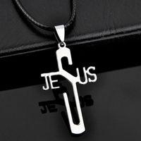 En gros 10pcs / lot Cool en acier inoxydable Jésus croix pendentifs Collier pour hommes bijoux cadeaux ST06