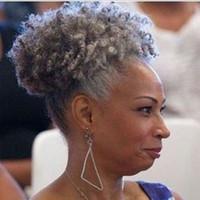 Mulheres cinza prata extensão do cabelo cinza prata afro puff kinky encaracolado cordão cabelo humano ponytaisl grampo peruca em cabelos grisalhos 80g 100g 120g