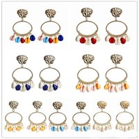 New Fashion Gold Color Summer Style Colorful Shell Earring f...