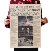 أبولو 11 القمر الهبوط نيويورك تايمز خمر المشارك كرافت ورقة غرفة ريترو الاطفال ديكور الجدار ملصق 51 * 35.5cm