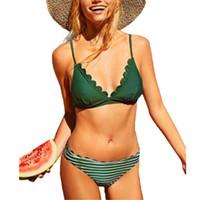 2020 Kurz Frauen-Mädchen-Grün-Bikini-Satz Spitze-Ordnungs-Bra + Low Waist-Badeanzug-Dame-Badeanzug Sommer Weibliches Bademode Badeanzug