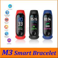 Le moins cher M3 Fitness Smart Bracelet IP67 Récompense cardiaque imperméable Surveillance du sommeil Surveillance du sommeil Smartwatch PK MI Bracelets de bande détachables coloré