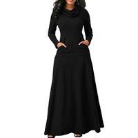 Frauen Maxi Kleid Mit Tasche Casual Solide Langarm Vintage Langes Kleid Bogen Hals Elegante Warme Robe Weibliche Vestidos