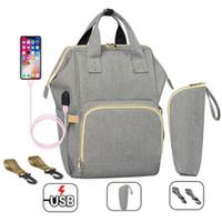 Fashion Mummy Maternity Bag Bag Bag Impermeabile Pannolini da passeggio passeggino Zaino USB Grande capacità infermieristica per la cura del bambino