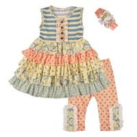 새 여자 의류 세트 머리띠와 어린이 슬리브리스 줄무늬 꽃 프릴 드레스 바지와 함께 2 피스 복장 패션 아이 옷
