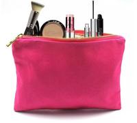trousse de maquillage en toile de coton épais rose vif rose chaud avec zip en métal doré doublure en or toile de couleur unie sac cosmétique fermeture à glissière en métal maquillage pochette