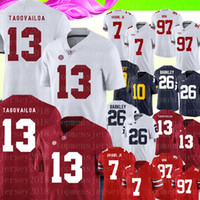 13 Tua Tagovailoa Alabama Crimson Tide Jersey Mens Rosso Bianco College Football Jerseys 7 Dwayne Haskins Jr 26 Saquon Barkley 89-20