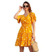 Повседневные платья LeoSoxs Multicolor V-образным вырезом Платье Bowknot с коротким рукавом.